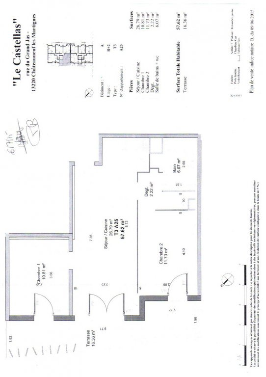 Appartement T3 non meublé avec terrasse