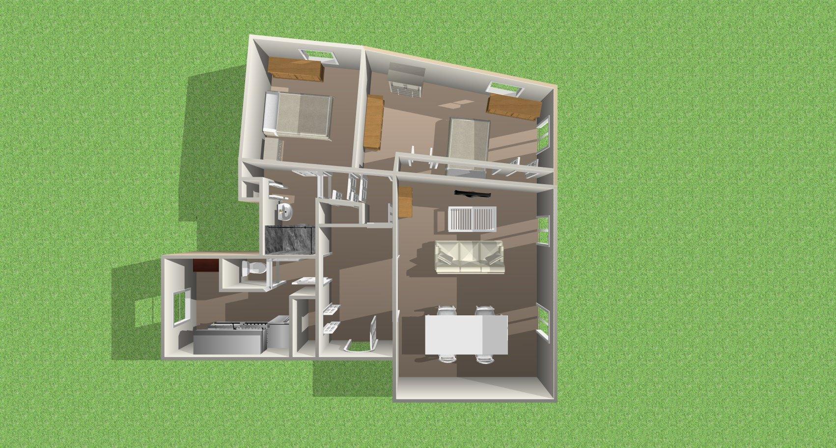 Plan actuel 3 pièces double séjour