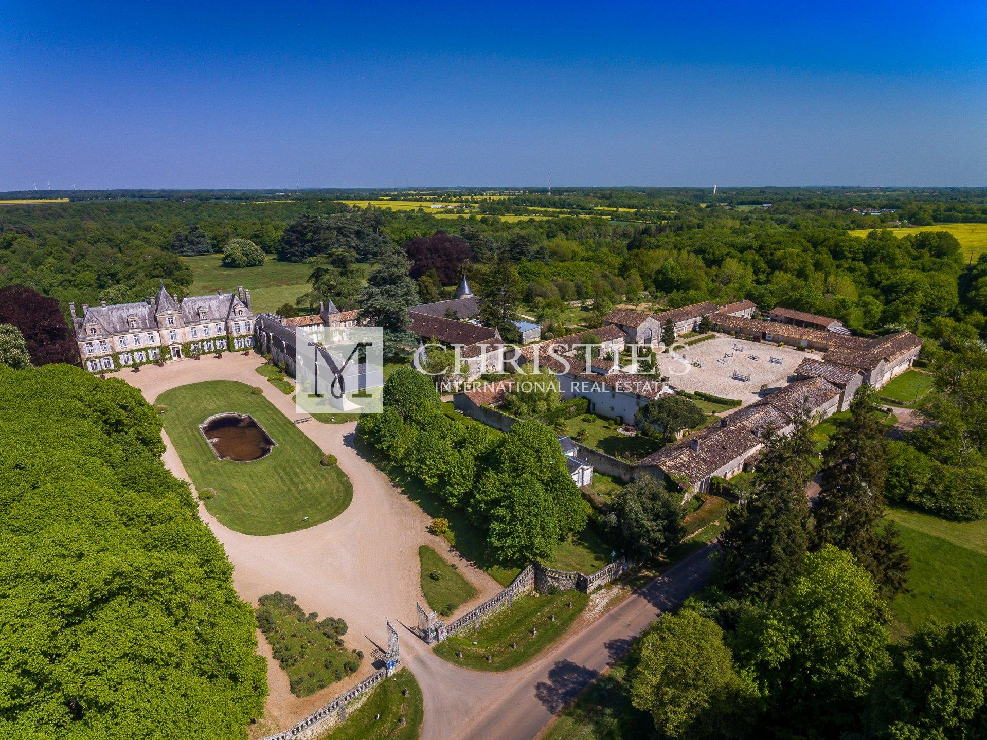 Aerial view of massive chateau estate