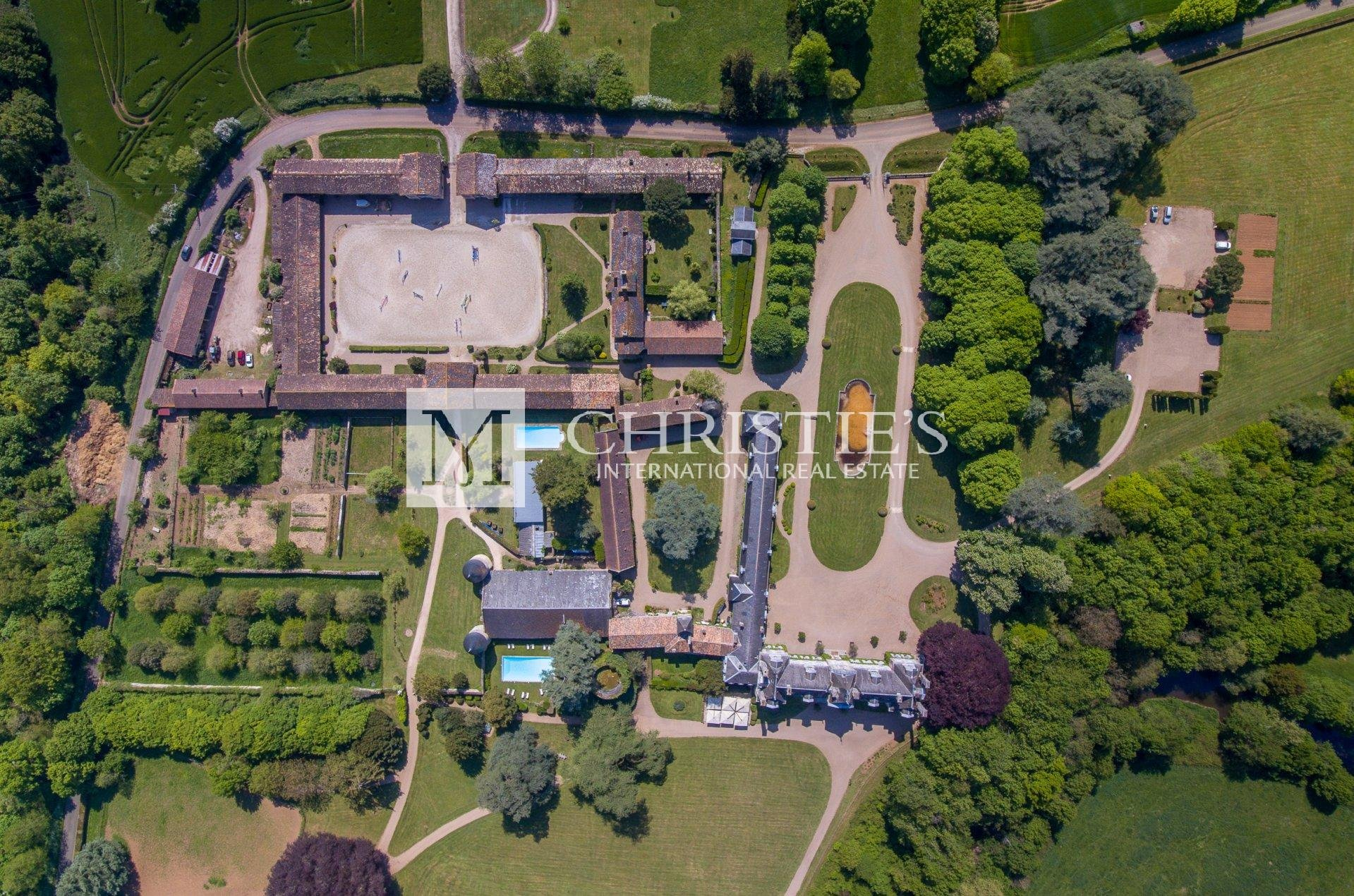 Ariel view of massive chateau estate
