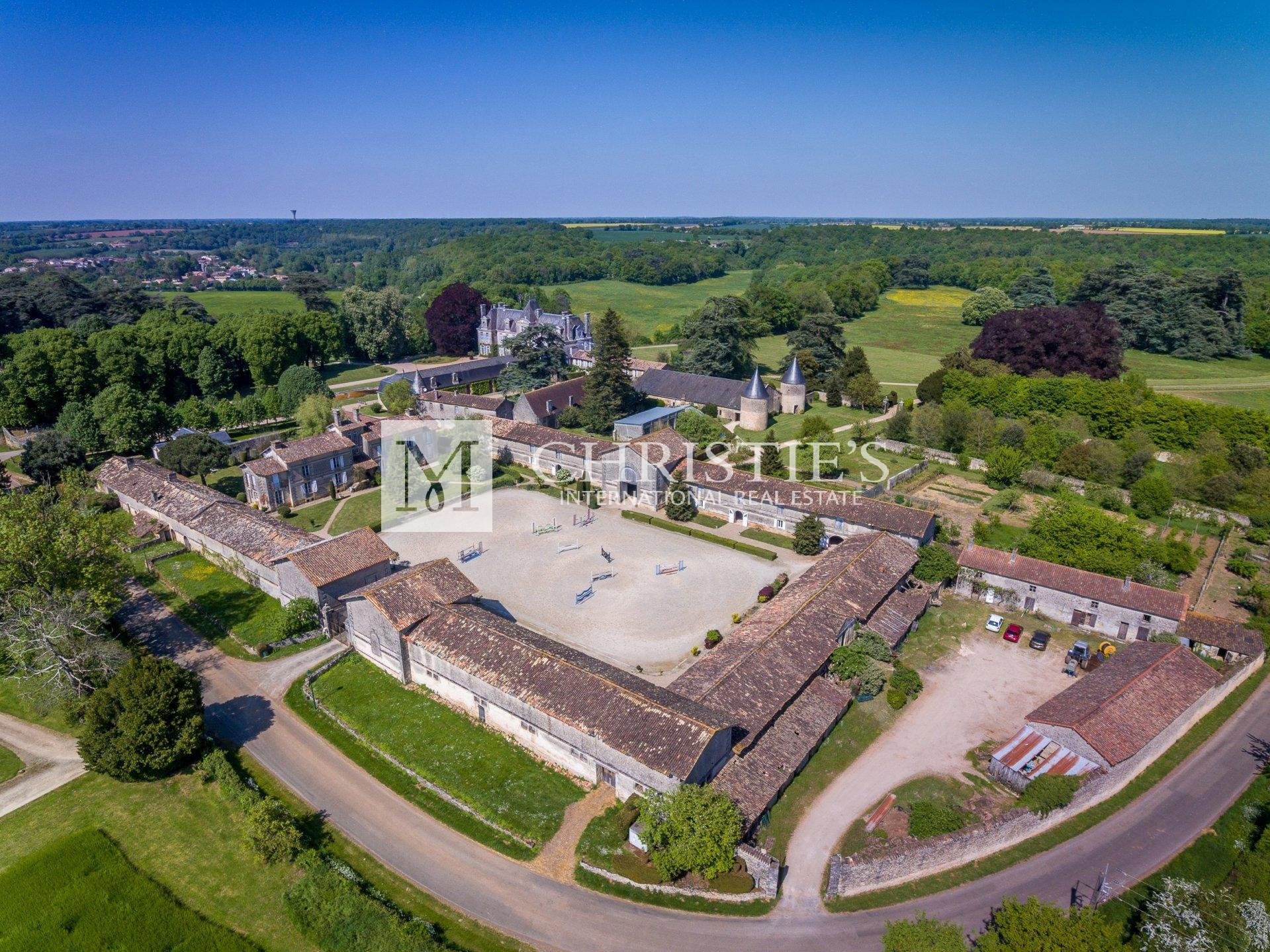 Ariel view of large chateau estate