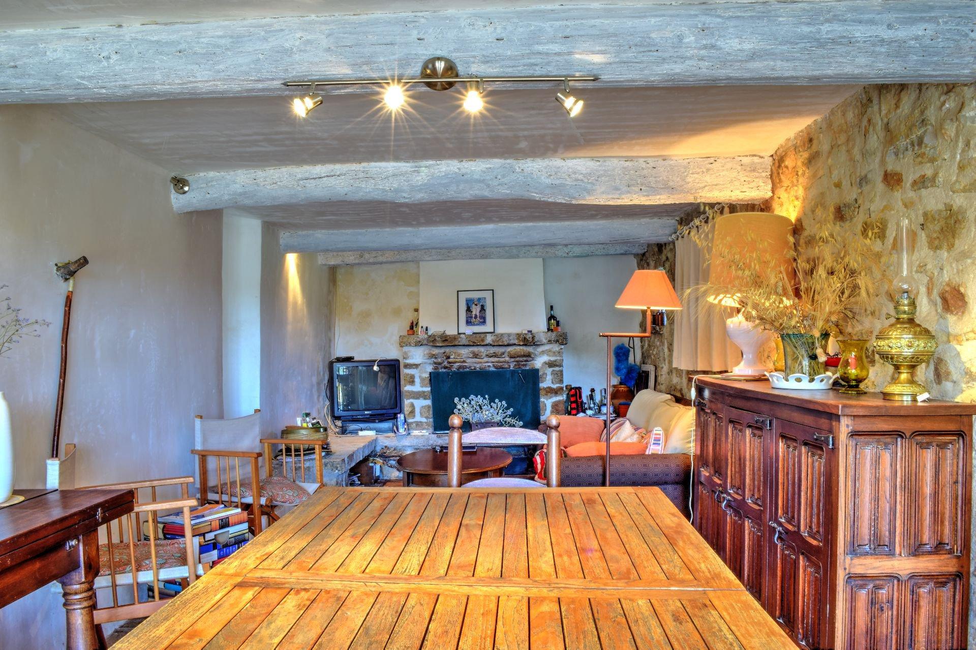 Superbe mas en pierres au milieu d'une oliveraie de 9Ha - Un coin de paradis - Salernes Var Provence Salon cheminée terrasse